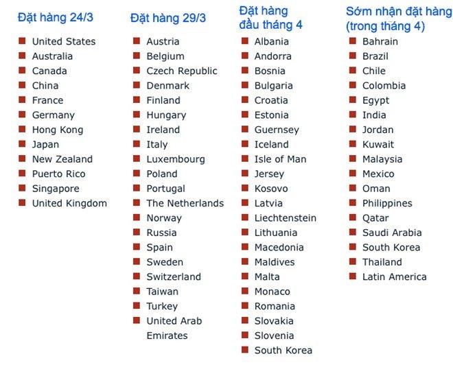 Việt Nam không có tên trong danh sách mở bán iPhone SE trong tháng 4