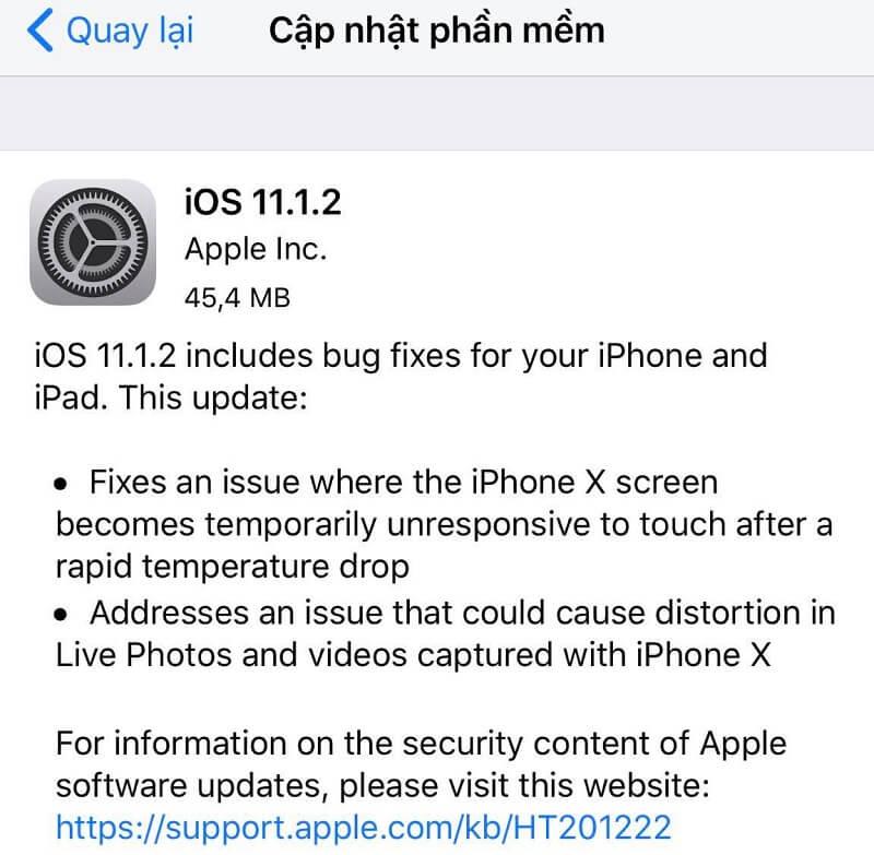 Cập nhật ngay iOS 11.1.2 chính thức vá lỗi iPhone X