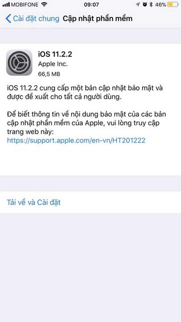 Apple tung ra bản cập nhật iOS 11.2.2