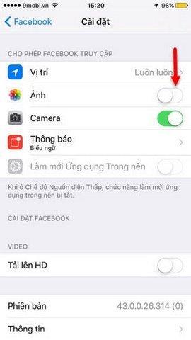 Lỗi không tải ảnh từ iPhone lên Facebook, phải làm sao?