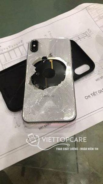 iphone X bể kính lưng